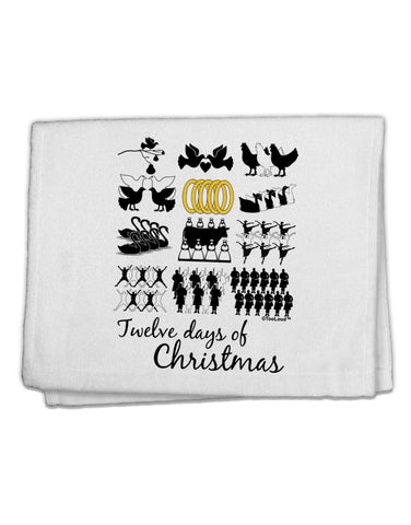 "12 Days of Christmas Text Color 11""x18"" Dish Fingertip Towel"