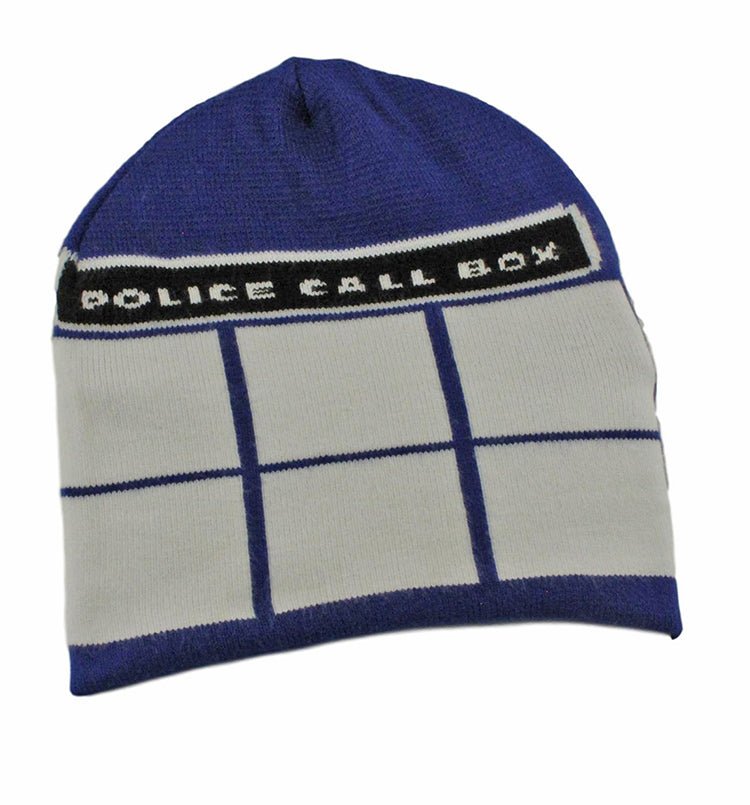 Police Call Box Knit Beanie Cap by TooLoud