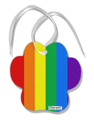 Rainbow Vertical Gay Pride Flag Paw Print Shaped Ornament All Over Print by TooLoud