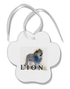 Lion Watercolor B Text Paw Print Shaped Ornament
