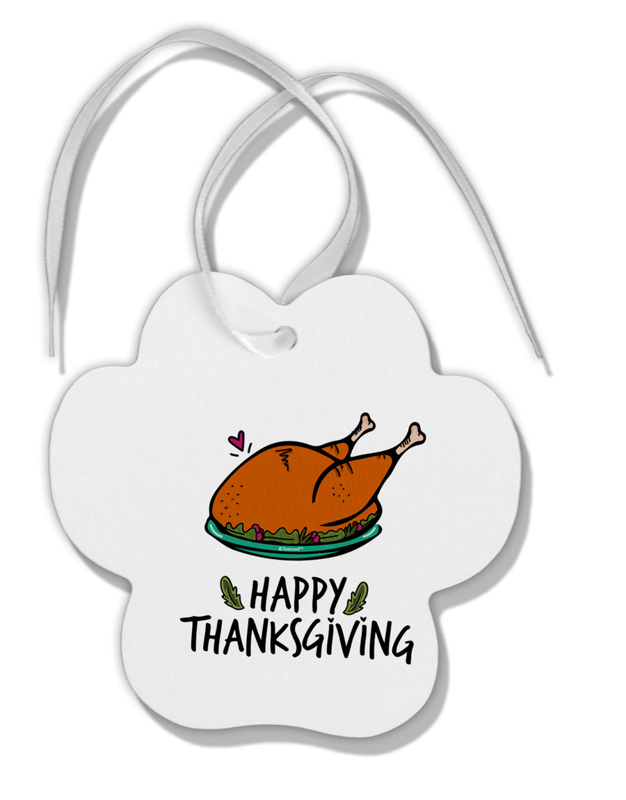 TooLoud Happy Thanksgiving Paw Print Shaped Ornament