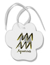 Aquarius Symbol Paw Print Shaped Ornament