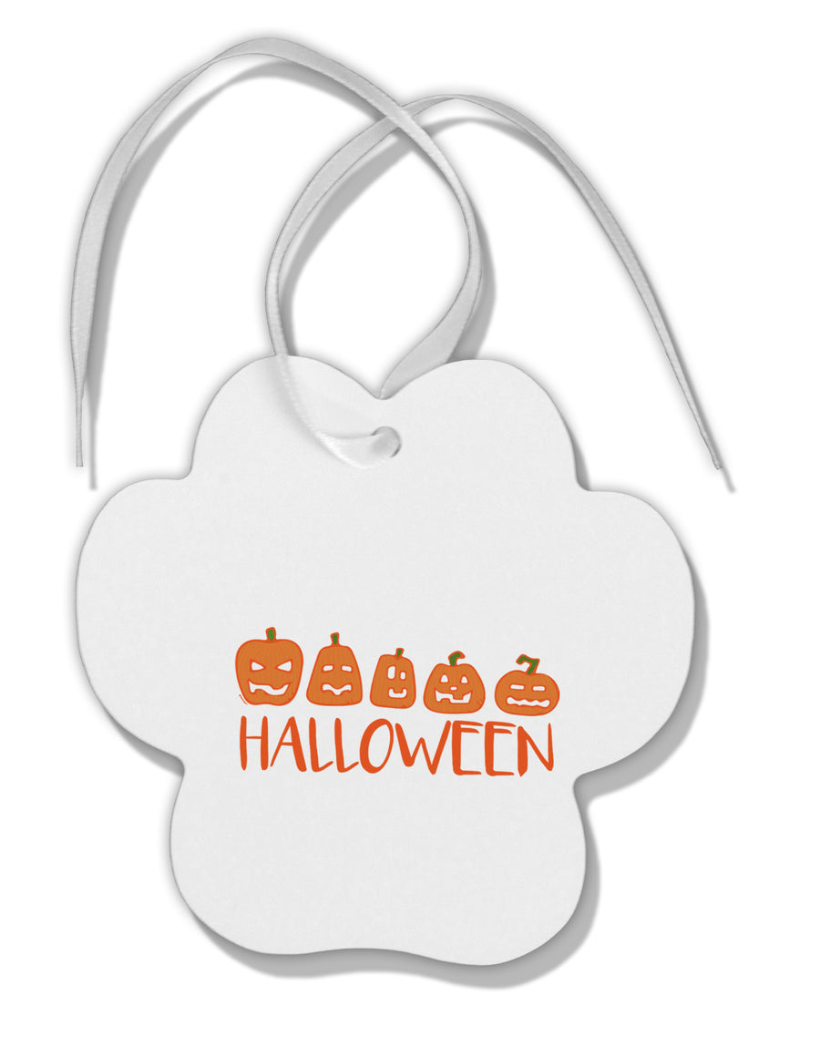 TooLoud Halloween Pumpkins Paw Print Shaped Ornament