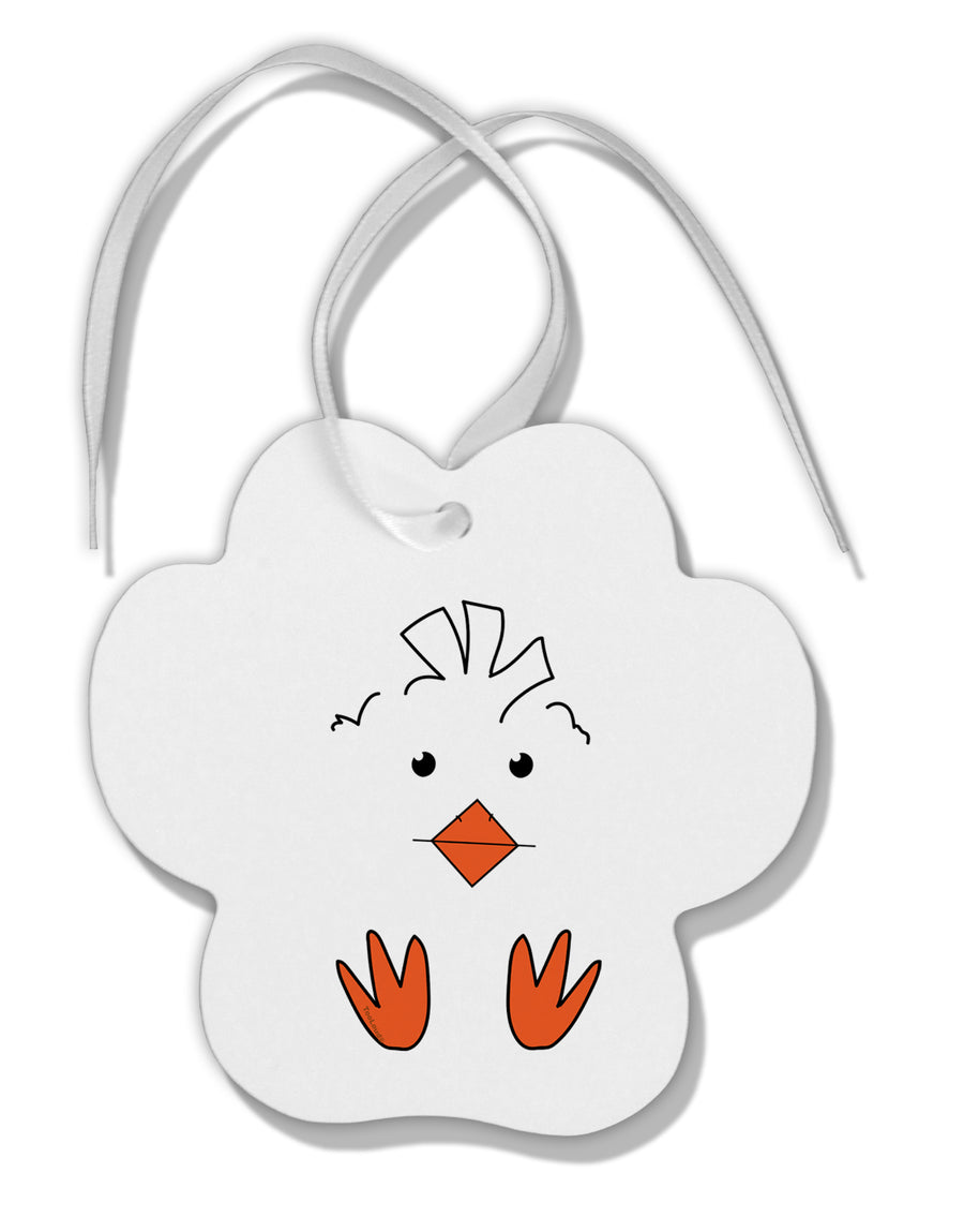 TooLoud Cute Easter Chick Face Paw Print Shaped Ornament