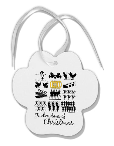 12 Days of Christmas Text Color Paw Print Shaped Ornament