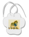 Lion Watercolor 1 Text Paw Print Shaped Ornament