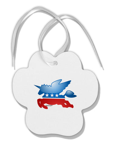 TooLoud Unicorn Political Symbol Paw Print Shaped Ornament
