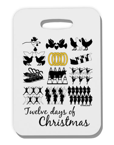 12 Days of Christmas Text Color Thick Plastic Luggage Tag