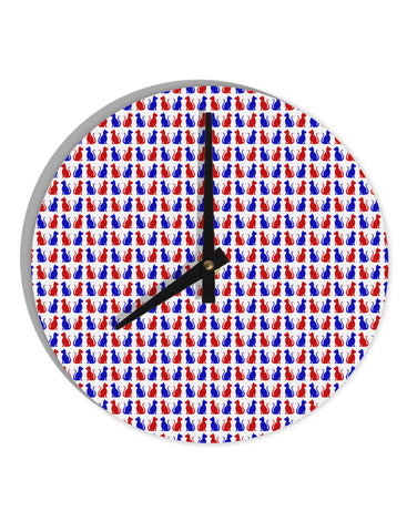 "Patriotic Cat Pattern 8"" Round Wall Clock  All Over Print"