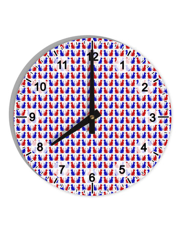 "Patriotic Cat Pattern 8"" Round Wall Clock with Numbers All Over Print"