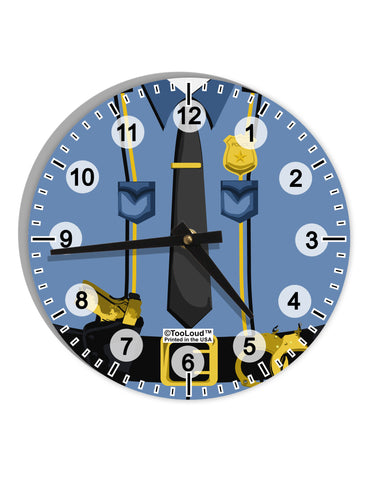 "Police Blue-Gold AOP 8"" Round Wall Clock with Numbers All Over Print"