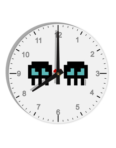 "8-Bit Skull Love - Boy and Boy 8"" Round Wall Clock with Numbers"