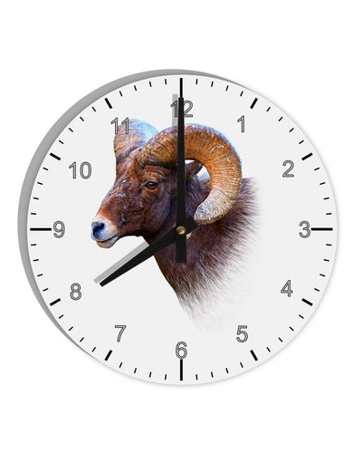 "Majestic Bighorn Ram 8"" Round Wall Clock with Numbers"