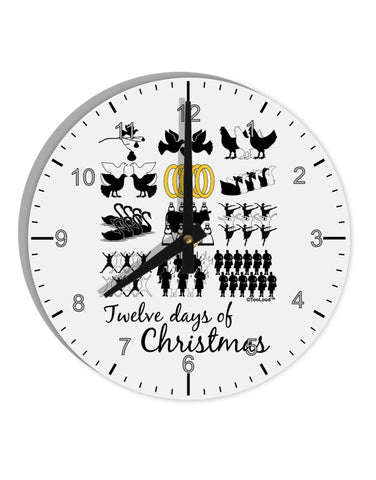 "12 Days of Christmas Text Color 8"" Round Wall Clock with Numbers"