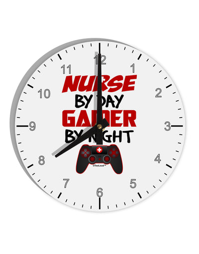 "Nurse By Day Gamer By Night 8"" Round Wall Clock with Numbers"