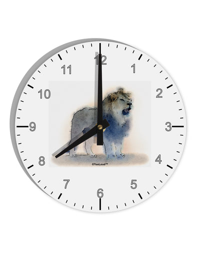 "Lion Watercolor B 8"" Round Wall Clock with Numbers"