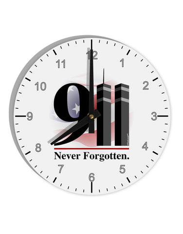 "911 Never Forgotten 8"" Round Wall Clock with Numbers"