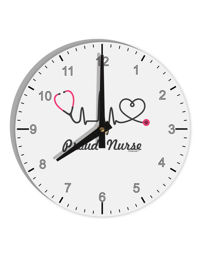 "Stethoscope Heartbeat Text 8"" Round Wall Clock with Numbers"