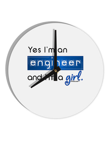 "TooLoud Yes I am a Engineer Girl 8"" Round Wall Clock"