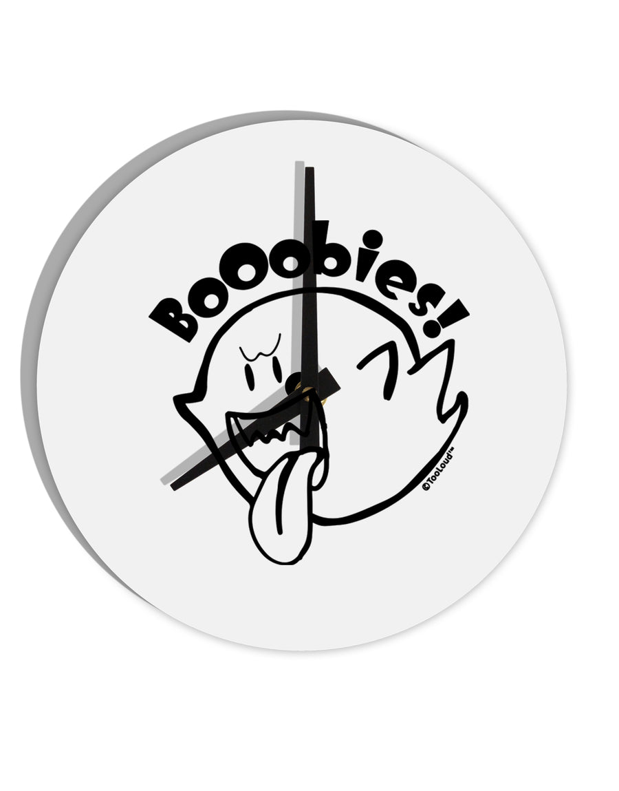 TooLoud Booobies 8 Inch Round Wall Clock