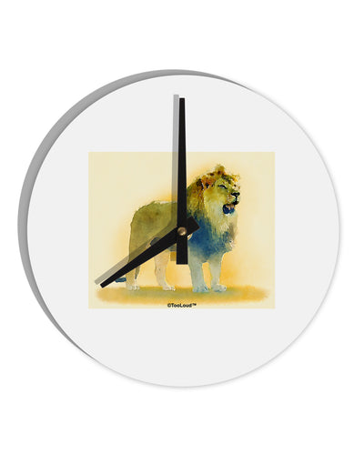 "Lion Watercolor 1 8"" Round Wall Clock"