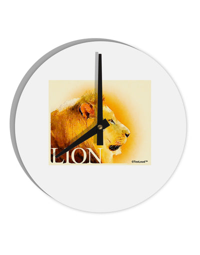 "Lion Watercolor 3 Text 8"" Round Wall Clock"