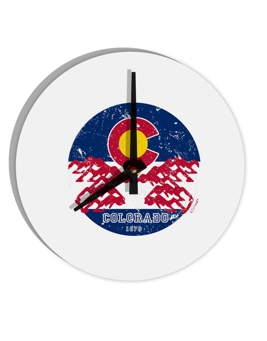 TooLoud Grunge Colorado Emblem Flag 8 Inch Round Wall Clock