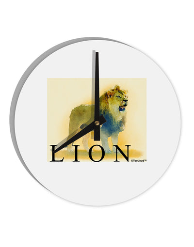 "Lion Watercolor 1 Text 8"" Round Wall Clock"