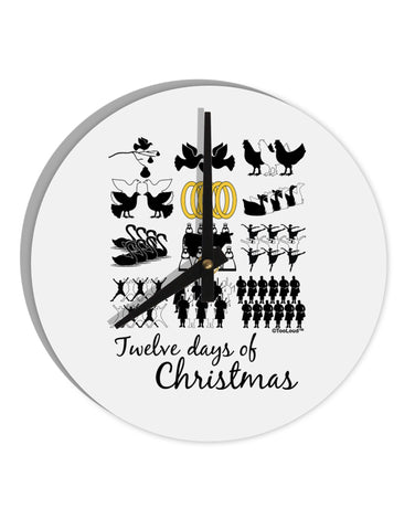 "12 Days of Christmas Text Color 8"" Round Wall Clock"
