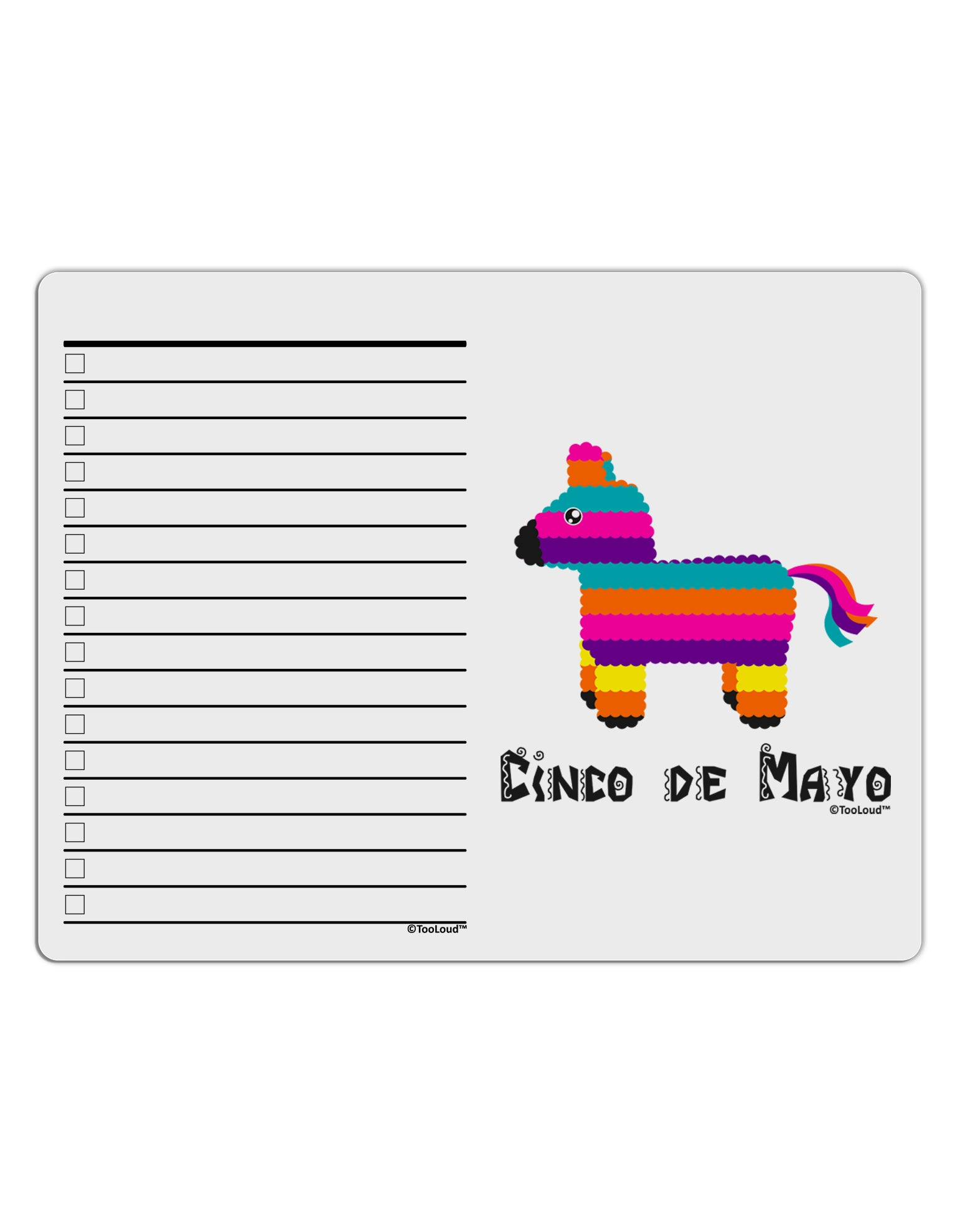 Colorful Pinata Design - Cinco de Mayo To Do Shopping List Dry Erase Board by TooLoud