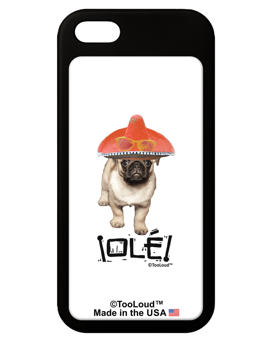 Pug Dog with Pink Sombrero - Ole iPhone 5 / 5S Grip Case  by TooLoud