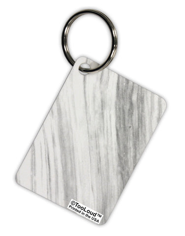White Marble Pattern Aluminum Keyring Tag All Over Print by TooLoud