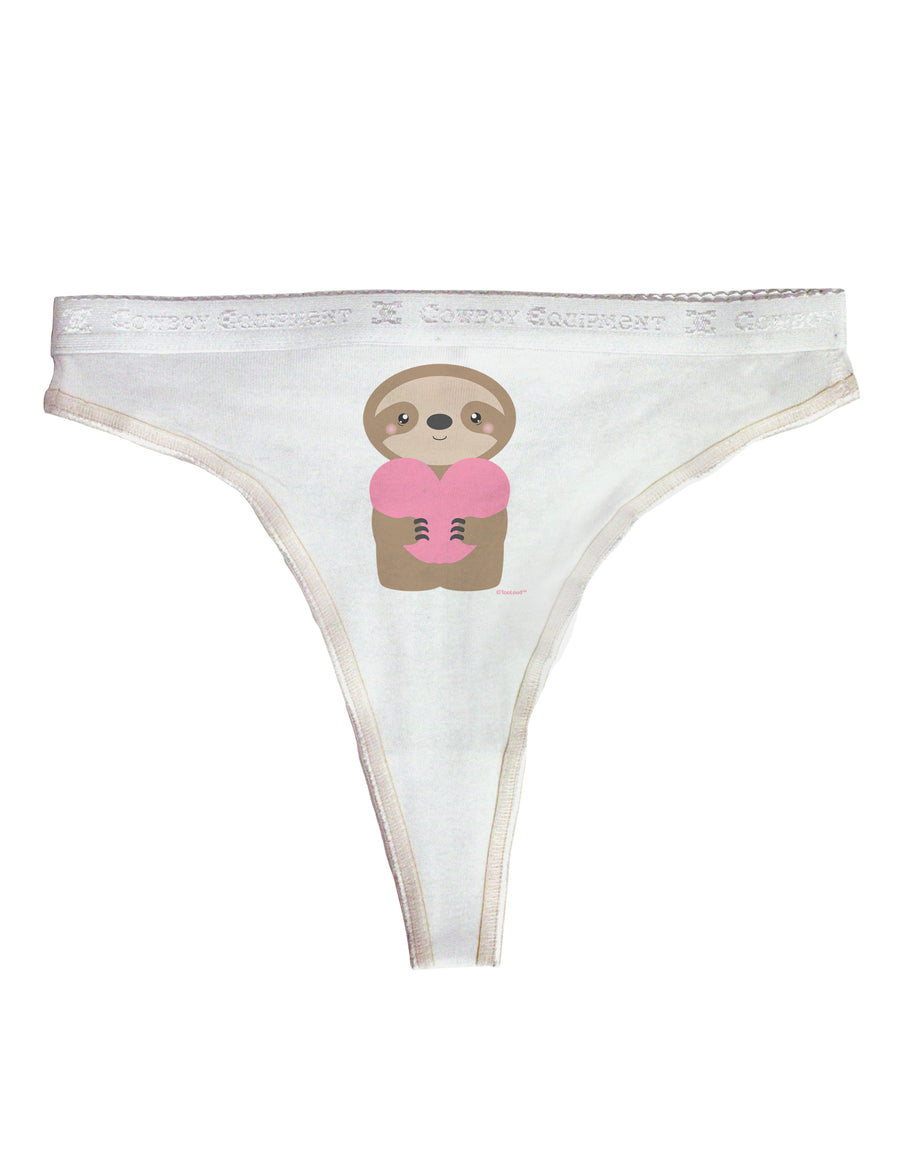 Cute Valentine Sloth Holding Heart Womens Thong Underwear by TooLoud