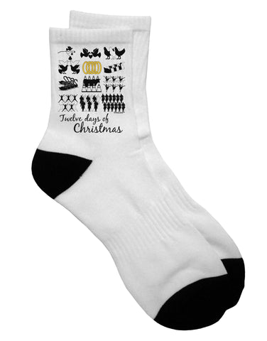 12 Days of Christmas Text Color Adult Short Socks