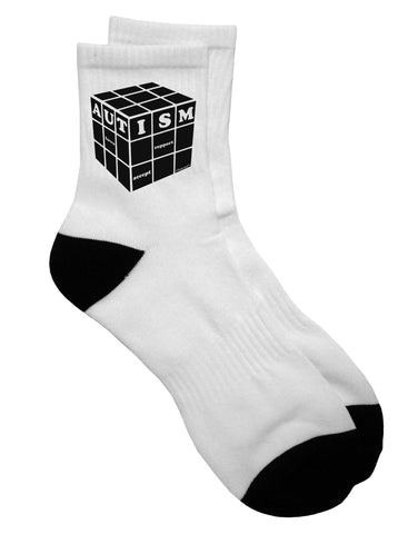 Autism Awareness - Cube B & W Adult Short Socks