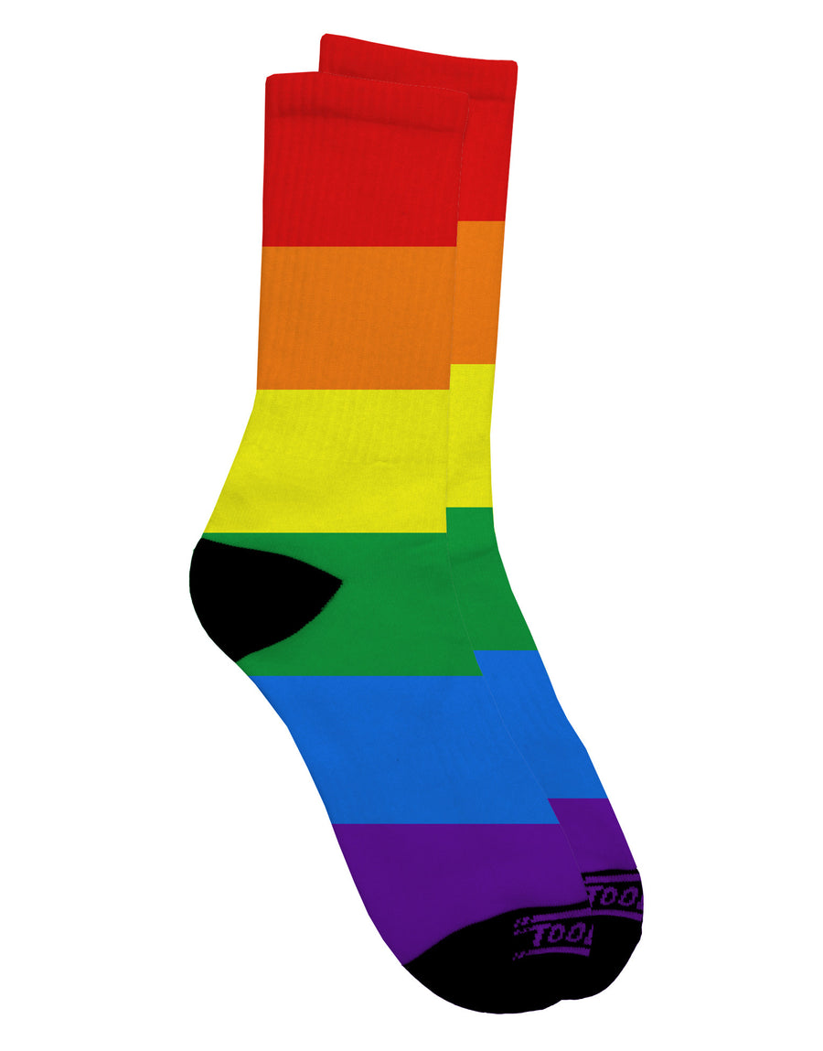 Rainbow Horizontal Gay Pride Flag Adult Crew Socks All Over Print by TooLoud