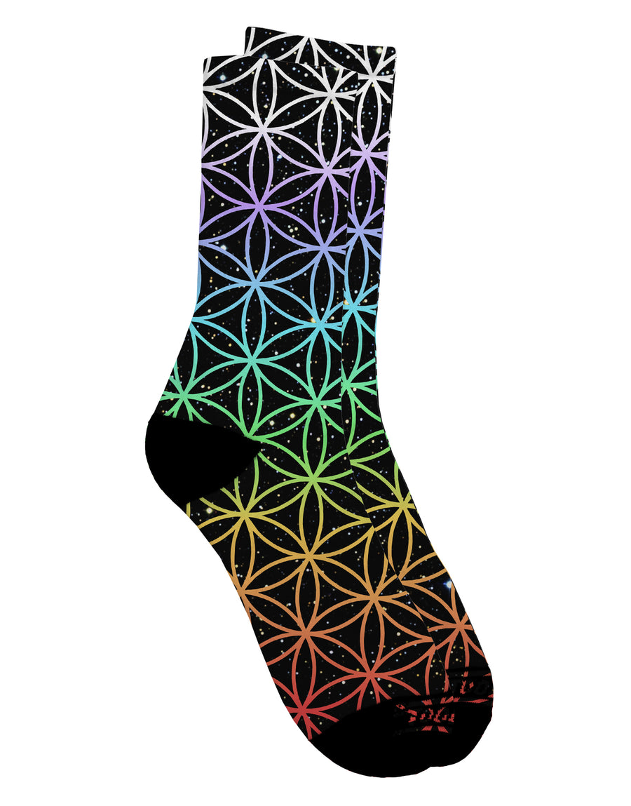 Chakra Colors Flower of Life Adult Crew Socks All Over Print