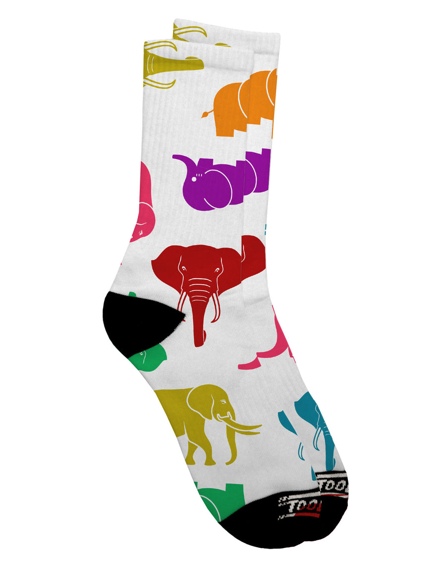 Colorful Elephants AOP Adult Crew Socks All Over Print