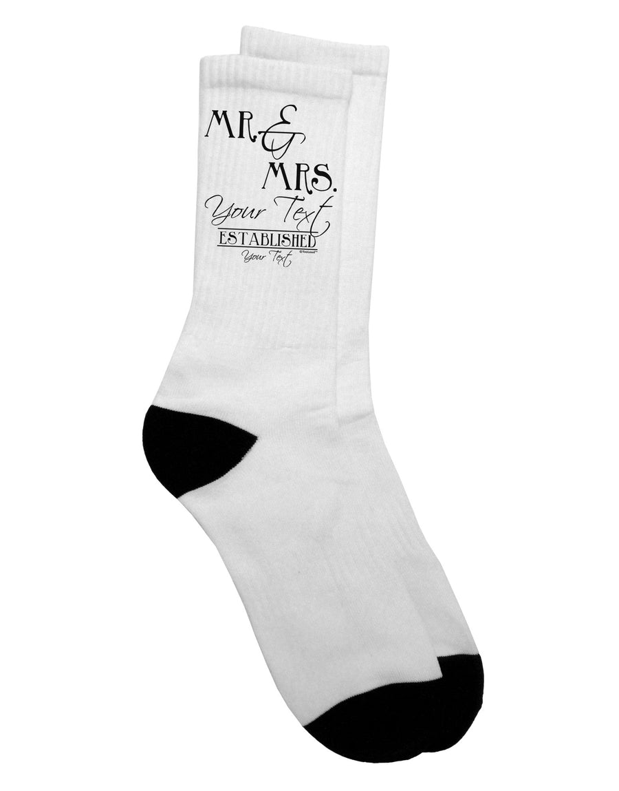 Personalized Mr and Mrs -Name- Established -Date- Design Adult Wedding Crew Socks