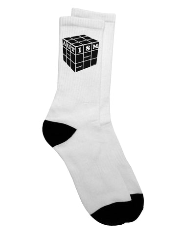 Autism Awareness - Cube B & W Adult Crew Socks