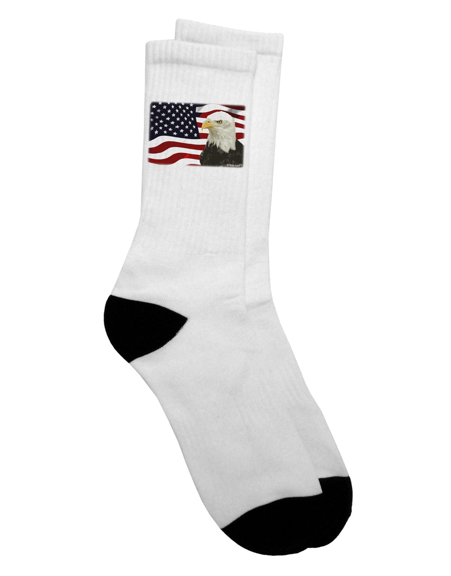 Patriotic USA Flag with Bald Eagle Adult Crew Socks - by TooLoud