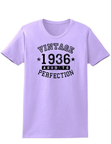 1936 - Ladies Vintage Birth Year Aged To Perfection Birthday T-Shirt