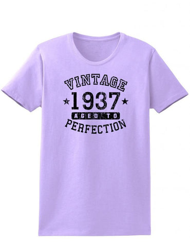 1937 - Ladies Vintage Birth Year Aged To Perfection Birthday T-Shirt