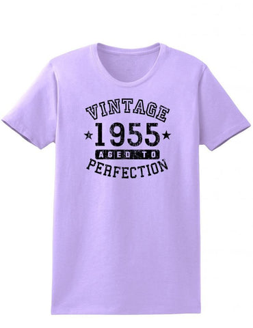 1955 - Ladies Vintage Birth Year Aged To Perfection Birthday T-Shirt