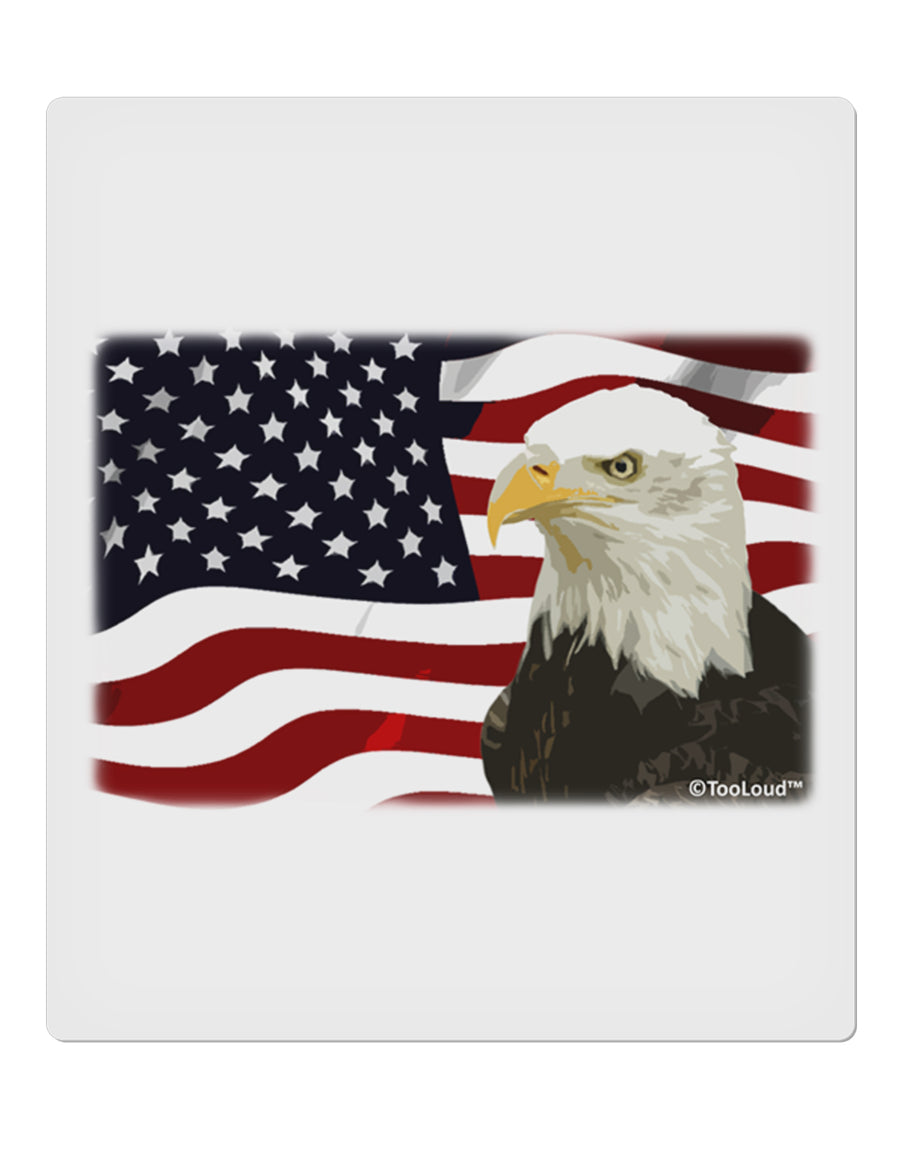 "Patriotic USA Flag with Bald Eagle 9 x 10.5"" Rectangular Static Wall Cling by TooLoud"