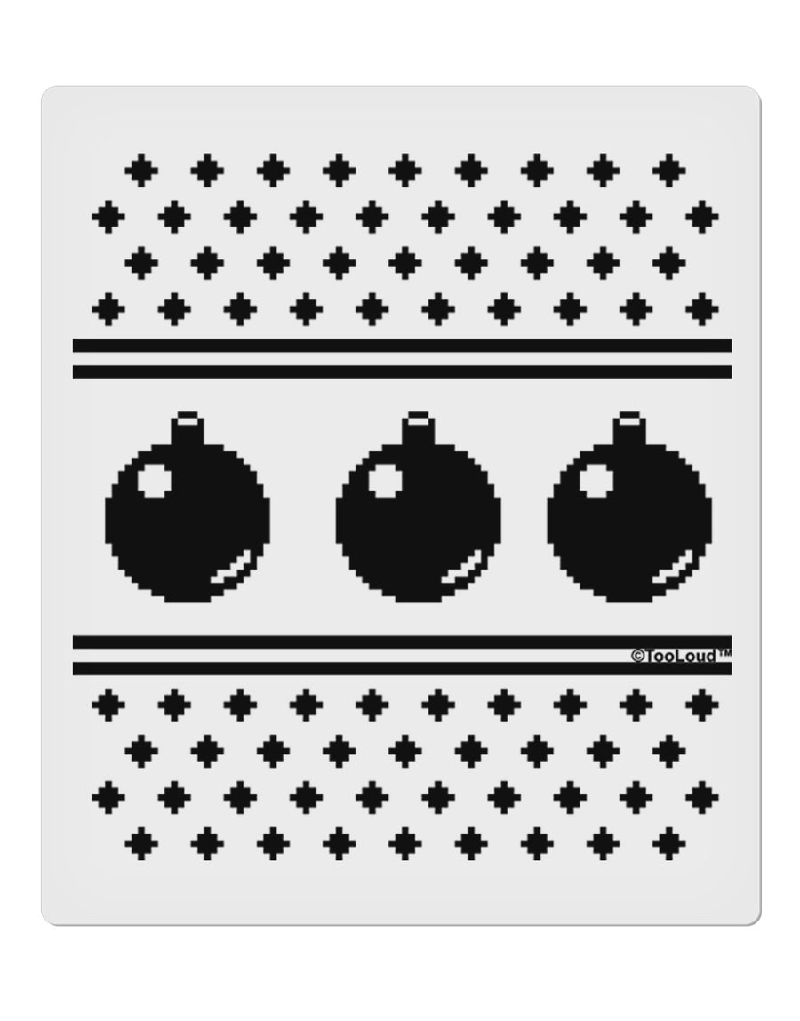 "Ugly Sweater Ornaments BnW 9 x 10.5"" Rectangular Static Wall Cling"