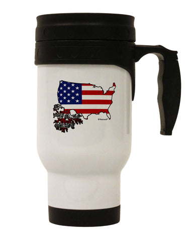 American Roots Design - American Flag Stainless Steel 14oz Travel Mug by TooLoud