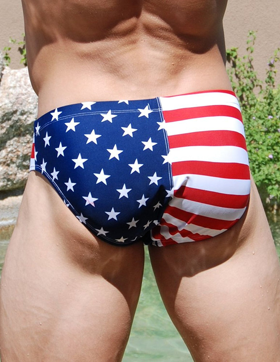 American Flag Swimsuit Mens Bikini - Patriotic Theme by Neptio