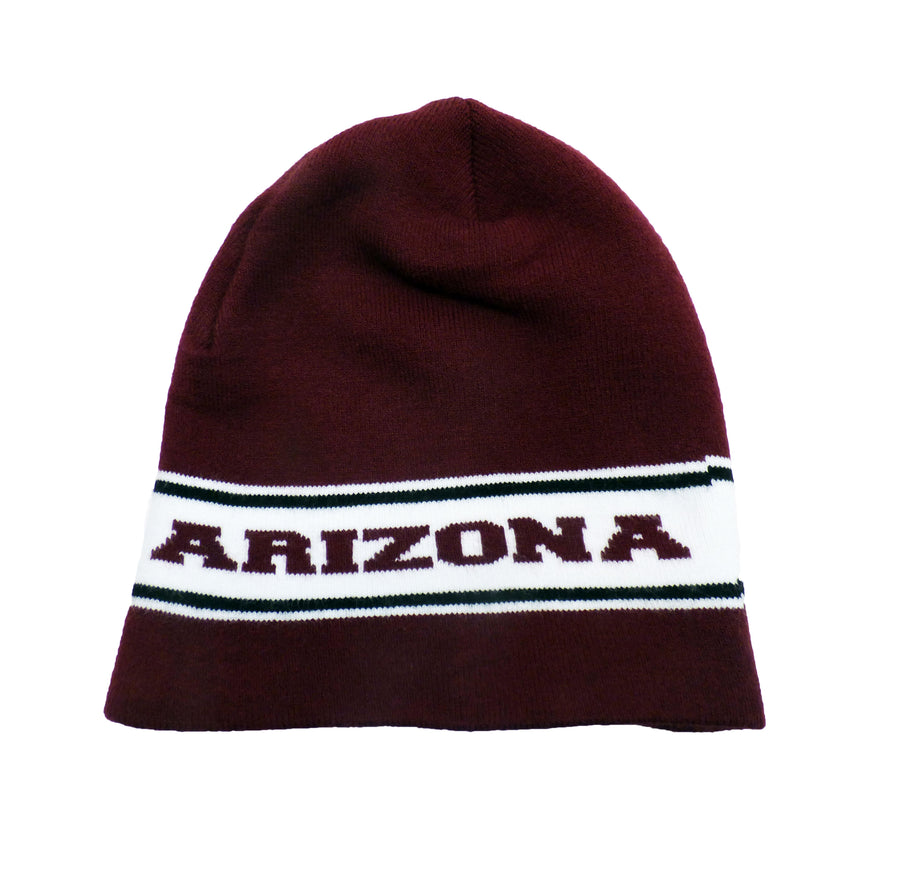 White and Maroon Arizona Premium Knit Skull Cap Beanie