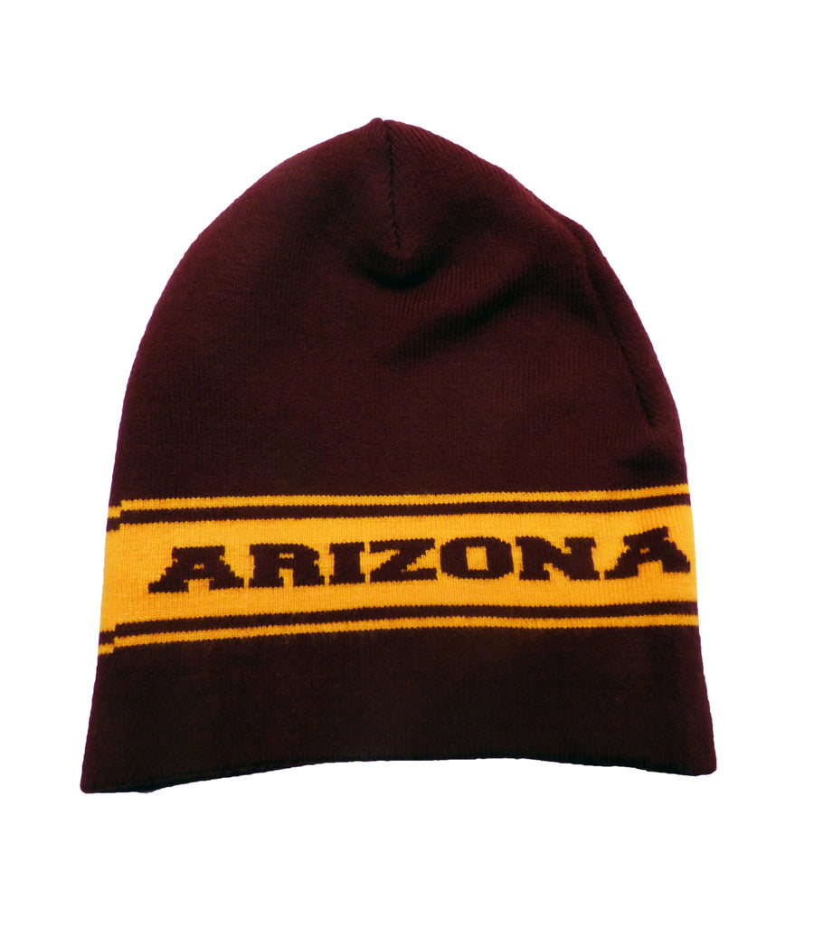 Gold and Maroon Arizona Premium Knit Skull Cap Beanie